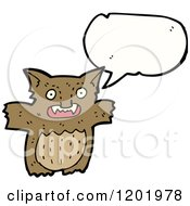 Cartoon Of A Furry Monster Speaking Royalty Free Vector Illustration