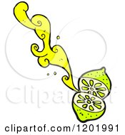 Cartoon Of A Lime Squirting Royalty Free Vector Illustration by lineartestpilot