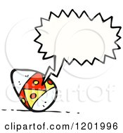 Cartoon Of A Decorated Egg Speaking Royalty Free Vector Illustration