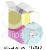 Computer software box and cd clipart illustration