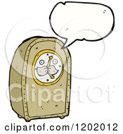Cartoon Of A Grandfather Clock Speaking Royalty Free Vector Illustration