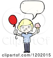 Cartoon Of A Kid With A Baloon And Ice Cream Cone Speaking Royalty Free Vector Illustration