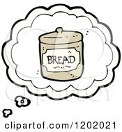 Cartoon Of Bread Jar In A Thinking Bubble Royalty Free Vector Illustration by lineartestpilot