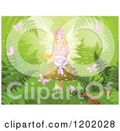 Cartoon Of A Blond Fairy Girl With Roses In Her Hair Sitting On A Mushroom In A Fantasy Forest With Butterflies And Ferns Royalty Free Vector Clipart