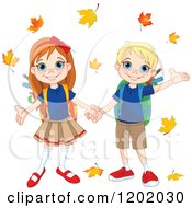 Cartoon Of A Happy School Boy And Girl Holding Hands Under Autumn Leaves Royalty Free Vector Clipart