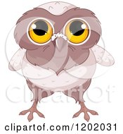 Cartoon Of A Cute Owl With Big Yellow Eyes Royalty Free Vector Clipart by Pushkin