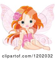 Cartoon Of A Red Haired Little Fairy Girl With Roses In Her Hair Royalty Free Vector Clipart