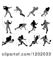 Clipart Of Black Silhouetted American Football Players In Action Royalty Free Vector Illustration