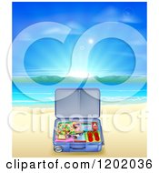 Cartoon Of A Travel Suitcase Open On A Sandy Tropical Beach At Sunrise Royalty Free Vector Clipart