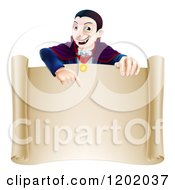 Cartoon Of A Vampire Pointing Down At A Sign Scroll Royalty Free Vector Clipart by AtStockIllustration