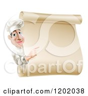 Cartoon Of A Chef Looking Around And Pointing At A Scroll Menu Sign Royalty Free Vector Clipart