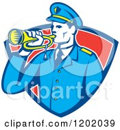 Clipart Of A Retro Military Soldier With A Bugle In A Red Shield Crest Royalty Free Vector Illustration