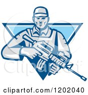 Clipart Of A Retro Male Soldier With An Assault Rifle In A Blue Triangle Royalty Free Vector Illustration by patrimonio