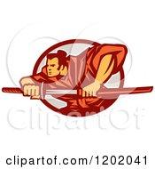 Retro Samurai Warrior With A Catana Sword In An Oval