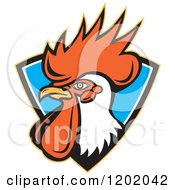 Clipart Of A Retro Rooster Head Emerging From A Blue Shield Crest Royalty Free Vector Illustration