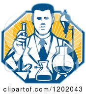 Clipart Of A Retro Scientist Working With Lab Equipment Over A Ray Octagon Royalty Free Vector Illustration