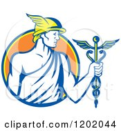 Clipart Of A Retro Roman God Mercury With A Caduceus In An Orange Circle Royalty Free Vector Illustration