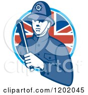 Retro British London Bobby Police Officer With A Truncheon In A Union Jack Flag Circle