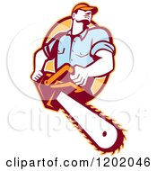 Clipart Of A Retro Logger Using A Chain Saw Emerging From An Orange Oval Royalty Free Vector Illustration
