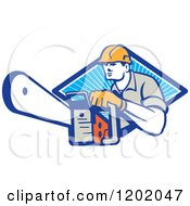 Clipart Of A Retro Logger Using A Chain Saw Emerging From A Diamond Of Blue Rays Royalty Free Vector Illustration