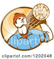 Clipart Of A Retro Worker Carrying A Log In A Circle Of Sun Rays Royalty Free Vector Illustration