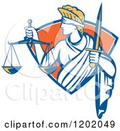 Retro Blindfolded Lady Justice With A Sword And Scale In A Crest Shield
