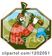 Clipart Of A Retro Paul Bunyan Lumberjack And Babe Blue Ox In An Octagon Royalty Free Vector Illustration