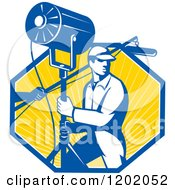 Clipart Of A Retro Lighting Worker With A Fresnel Sound Boom In A Ray Octagon Royalty Free Vector Illustration