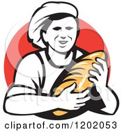 Clipart Of A Retro Female Baker Holding A Bread Loaf Over A Red Circle Royalty Free Vector Illustration by patrimonio