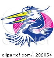 Clipart Of A Great Blue Heron Bird Emerging From An Oval Of Pink Rays Royalty Free Vector Illustration
