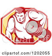 Clipart Of A Retro Buff Bodybuilder Lifting Heavy Weights Over A Hexagon Royalty Free Vector Illustration