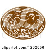 Clipart Of A Brown Woodcut Chicken Oval With Vegetables Royalty Free Vector Illustration by patrimonio