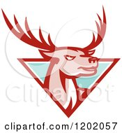 Clipart Of A Deer Stag Head Emerging From A Turquoise Triangle Royalty Free Vector Illustration