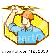 Clipart Of A Retro Male Electrician Holdnig A Bolt Over An Octagon Of Orange Rays Royalty Free Vector Illustration