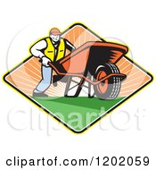 Clipart Of A Retro Gardener Man Pushing A Wheelbarrow In A Sunset Diamond Royalty Free Vector Illustration