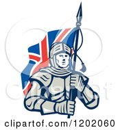 Clipart Of A Knight In Metal Armour Carrying A British Flag Royalty Free Vector Illustration by patrimonio