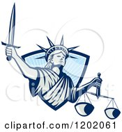 Clipart Of A Statue Of Liberty Lady Justice With A Sword And Scales Emerging From A Blue Ray Shield Royalty Free Vector Illustration