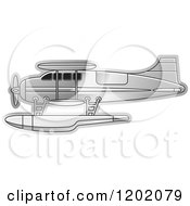Clipart Of A Small Silver Seaplane Royalty Free Vector Illustration by Lal Perera