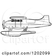 Clipart Of A Small Outlined Seaplane Royalty Free Vector Illustration by Lal Perera