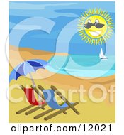 Beach Chairs And Umbrella On The Shore With A View Of A Sailboat Clipart Illustration by AtStockIllustration