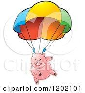 Clipart Of A Pig Parachuting Royalty Free Vector Illustration