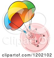 Clipart Of A Pig Parachuting Over A Pink Icon Royalty Free Vector Illustration
