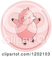 Clipart Of A Pink Pig Dancing Icon Royalty Free Vector Illustration