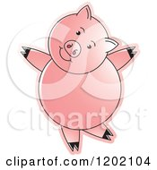Clipart Of A Pig Dancing Royalty Free Vector Illustration by Lal Perera