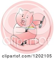 Clipart Of A Pig Sitting And Eating Icon Royalty Free Vector Illustration