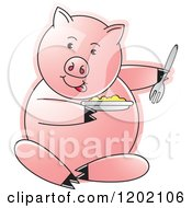 Clipart Of A Pig Sitting And Eating Royalty Free Vector Illustration