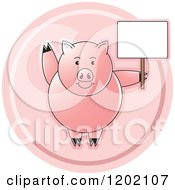 Clipart Of A Pink Pig Waving And Holding A Sign Icon Royalty Free Vector Illustration