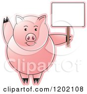 Clipart Of A Pig Waving And Holding A Sign Royalty Free Vector Illustration