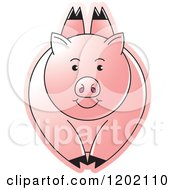 Clipart Of A Pink Pig Leaping Royalty Free Vector Illustration