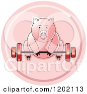 Clipart Of A Fit Pig Exercising And Lifting A Barbell Icon Royalty Free Vector Illustration